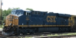 CSX 821 sits at the edge of town
